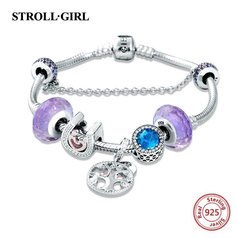 Strollgirl 925 Sterling Silver Snake Chain with diy charms beads original Bracelet luxury Fashion Jewelry making for women giftStrollgirl 925 Sterling Silver Snake Chain with diy charms beads original Bracelet luxury Fashion Jewelry making for women gift