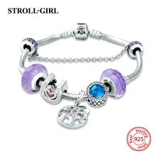 купить Strollgirl 925 Sterling Silver Snake Chain with diy charms beads original Bracelet luxury Fashion Jewelry making for women gift дешево