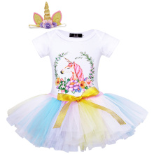 AmzBarley Baby Girls clothes Cartoon printing Cotton rompers tutu skirt Unicorn headband 3-piece clothing set for 1st Birthday