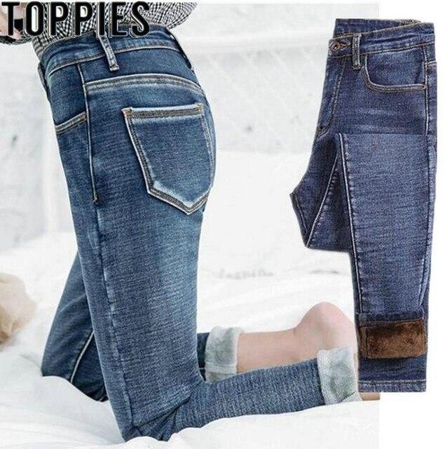 2019 חורף נשים עבה צמר ג 'ינס מכנסיים גבוה מותן Slim עיפרון ג' ינס חורף ג 'ינס מכנסיים