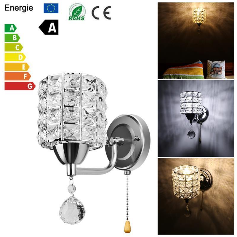 Rational Led Crystal Wall Lamp Wall Sconce Crystal Wall Light For Bedroom Corridor Living Room Ac85-250v E14 Socket (no Bulb Included)
