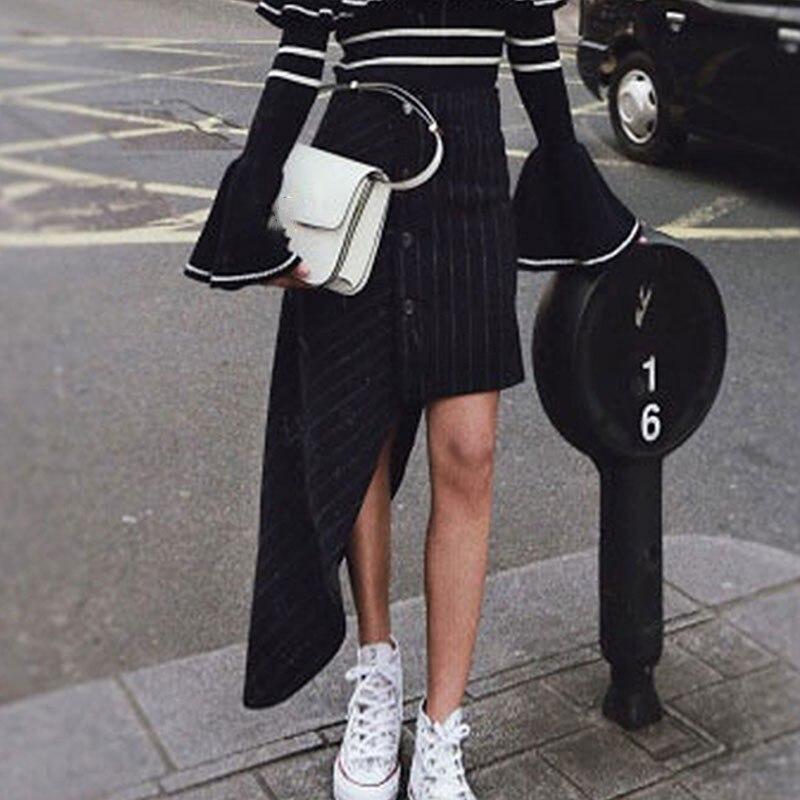 Kadın Giyim'ten Etekler'de TWOTWINSTYLE Asimetrik Çizgili Yün Etekler Kadın Yüksek Bel Düzensiz Siyah kadın Etek 2019 Sonbahar Moda Giyim Yeni'da  Grup 2