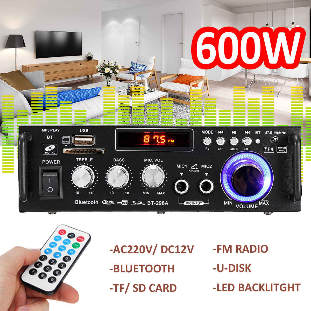 600w Home Amplifiers Audio bluetooth Amplifier Subwoofer Amplifier Home Theater Sound System Mini Amplifier Professional