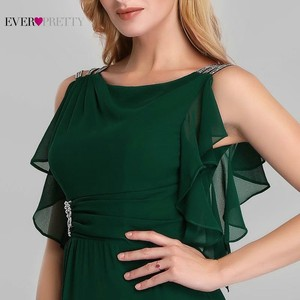 Image 5 - Élégant robes de soirée longue jamais jolie o cou a ligne sans manches volants vert foncé femmes Vintage en mousseline de soie robes de soirée 2020