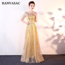 BANVASAC Elegant O Neck Bronzing Half Sleeve A Line Long Evening Dresses Party Bow Sash Illusion Backless Prom Gowns