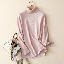 Shuchan Warm Knitted Sweater For Women 100% Cashmere Womens Turtleneck Pullovers Dot Clothes Winter 2018