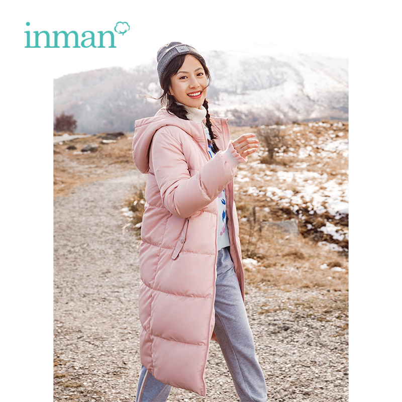 INMAN Winter New Arrival Hooded Warm Windproof Pink Woman Long   Down     Coat
