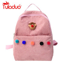 4c75df084e Candy Color Women Backpacks Small School Bags for Teenager Girls Solid Cute  Bear Design Female Shoulder