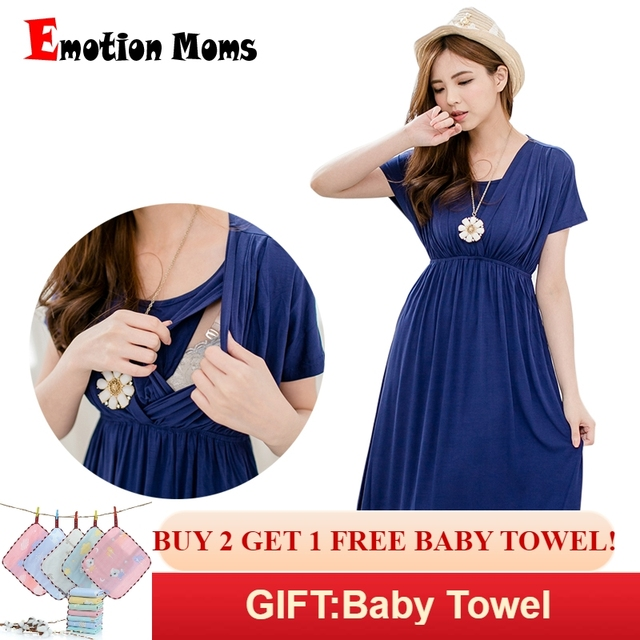 11f551f5323b Emotion Moms Fashion nursing Dress Breastfeeding Dress Summer Maternity  Clothes for Pregnant Women Maternity Dresses Soft Fabric