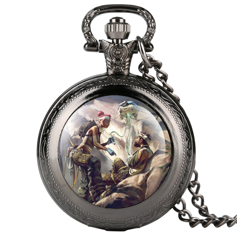 Apex Online Games Series Theme Sticker Pocket Watch Double-cover Pocket Watches For Boy Gift For Pocket Watch With Necklace