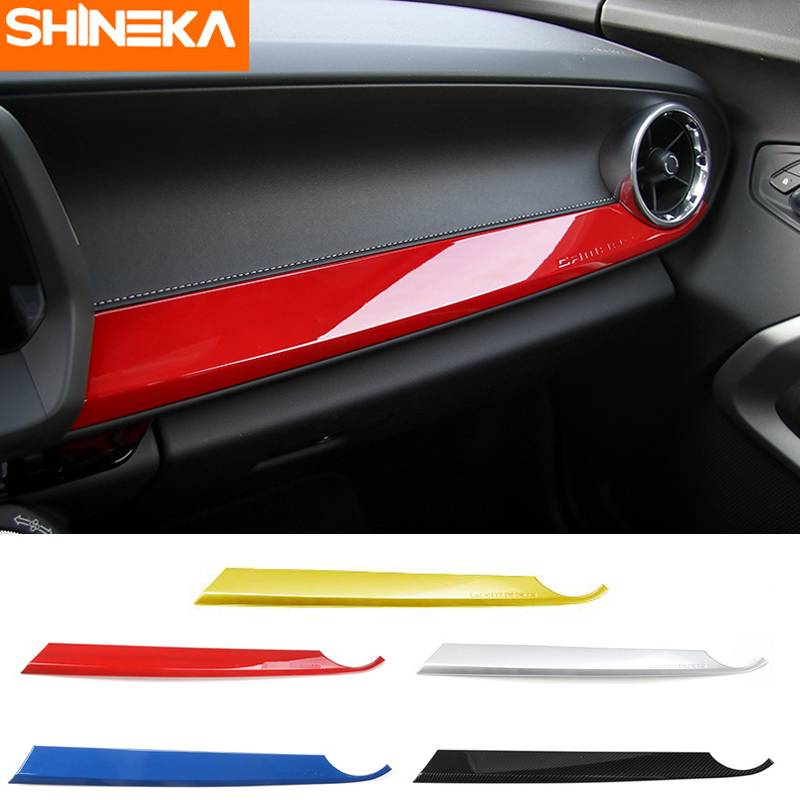 SHINEKA ABS Interior Kits Copilot Passenger Side Panel Decoration Trim Carbon Fibre Style for 6th Gen Chevrolet Camaro 2017+