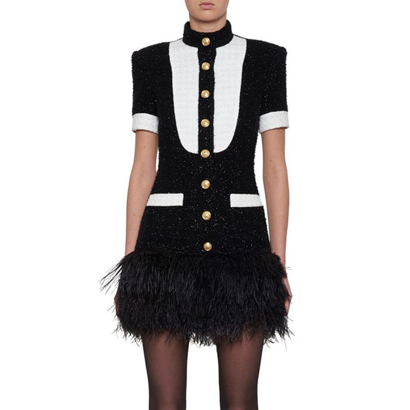 2019 Spring New Runway Design Black White Patchwork Dresses Feathers Gold Lion Button Women s Party