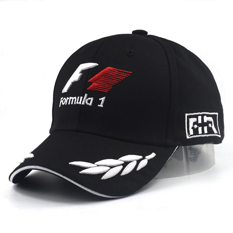 XUYIJUN men formula 1 Baseball Caps Black F1 3D Embroidery Hats Motorcycle  Racing Caps Outdoor adjustable Sports Sun Hat gorro