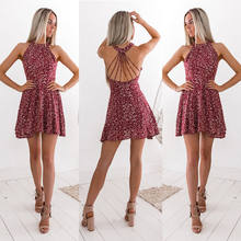 Womens Boho Beach Summer Holiday tumblr Sundress Halter Floral Mini Dress Ladies Slim Sleeveless vestido playa(China)