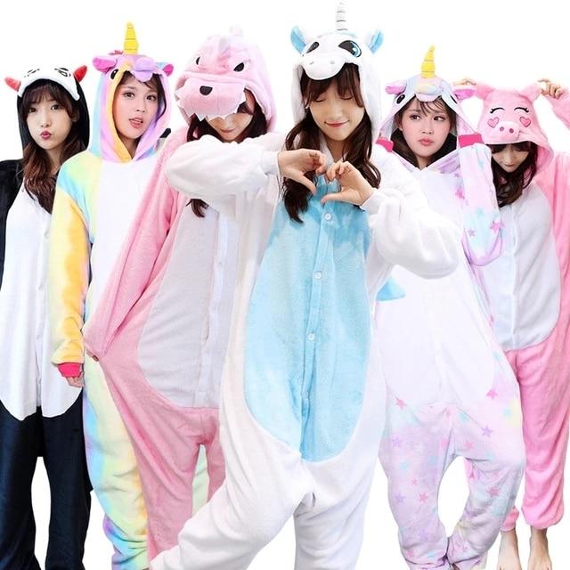 New Winter Animal Kigurumi Onesie Adult Women Pajamas Unicorn Onesies Hooded Sleepwear Flannel Homewear Lounge Pikachu Giraffe