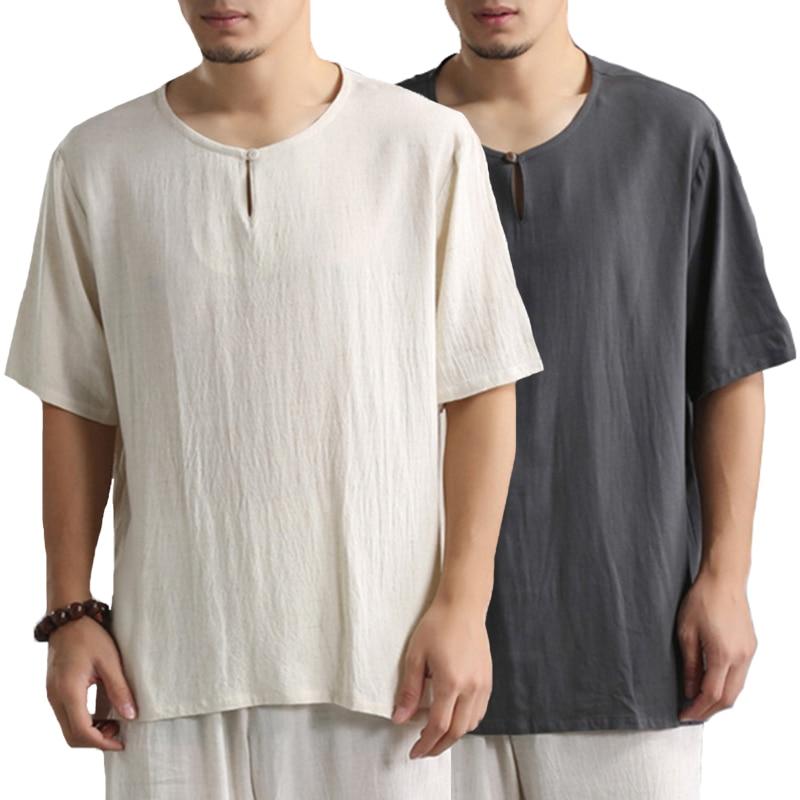 Brand Beach Shirts 2019 Cotton Tee Shirts T Shirts Short Sleeve Crew-Neck Loose Vacation Camisa Joggers Comfortable Men Tops