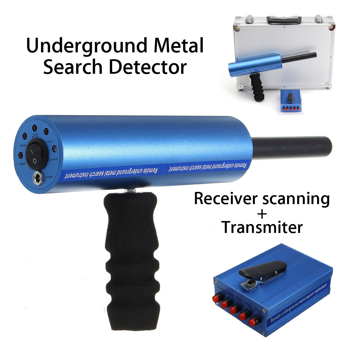 6pcs/Set Professtional Underground Metal Detector Adjustable Gold Detectors Treasure Tracker Seeker Searcher+Transmitter professtional md 4040 underground metal detector adjustable gold detectors treasure hunter tracker seeker metal circuit detector