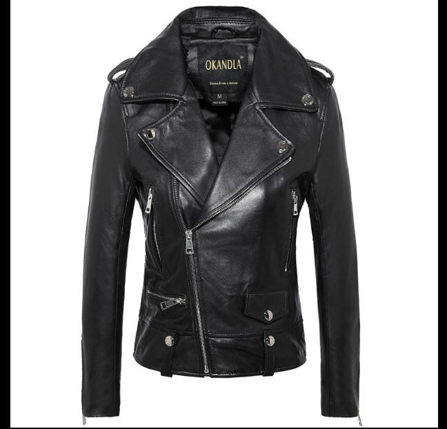 ,Genuine   leather   woman slim fur jacketsfashion motorbiker Asian size female sheepskin jacket Brand   Suede