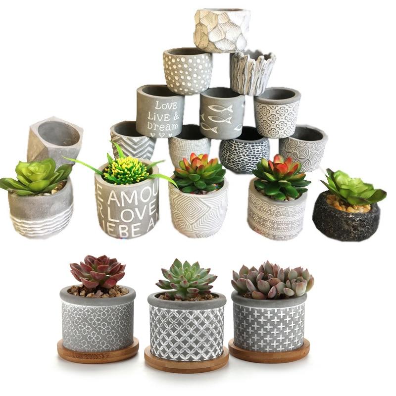 T4U 14 Type Cement Succulent Planter Pot Grey Set Small Concrete Cactus Plant Pot
