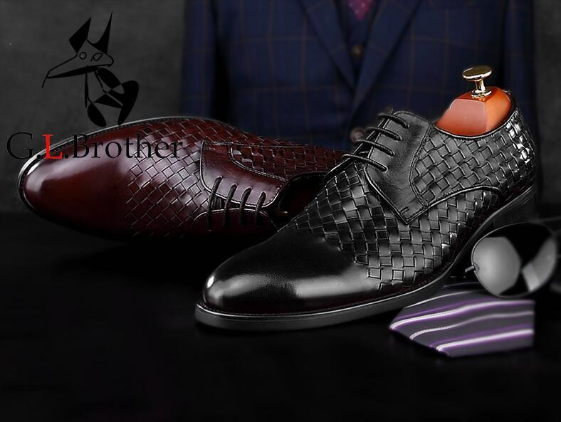 Handmade Dress Shoes Men Genuine Leather Knitting Patchwork Plaid Smart Casual Oxfords Pointed Toes Men's Wedding Derby Shoes цена и фото