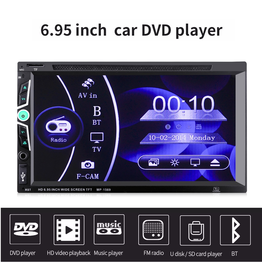MP1569 2 Din 6.95 Car DVD Player Bluetooth Car Stereo HD Touch Screen Multimedia Player Handsfree FM Radio With Remote ControlMP1569 2 Din 6.95 Car DVD Player Bluetooth Car Stereo HD Touch Screen Multimedia Player Handsfree FM Radio With Remote Control
