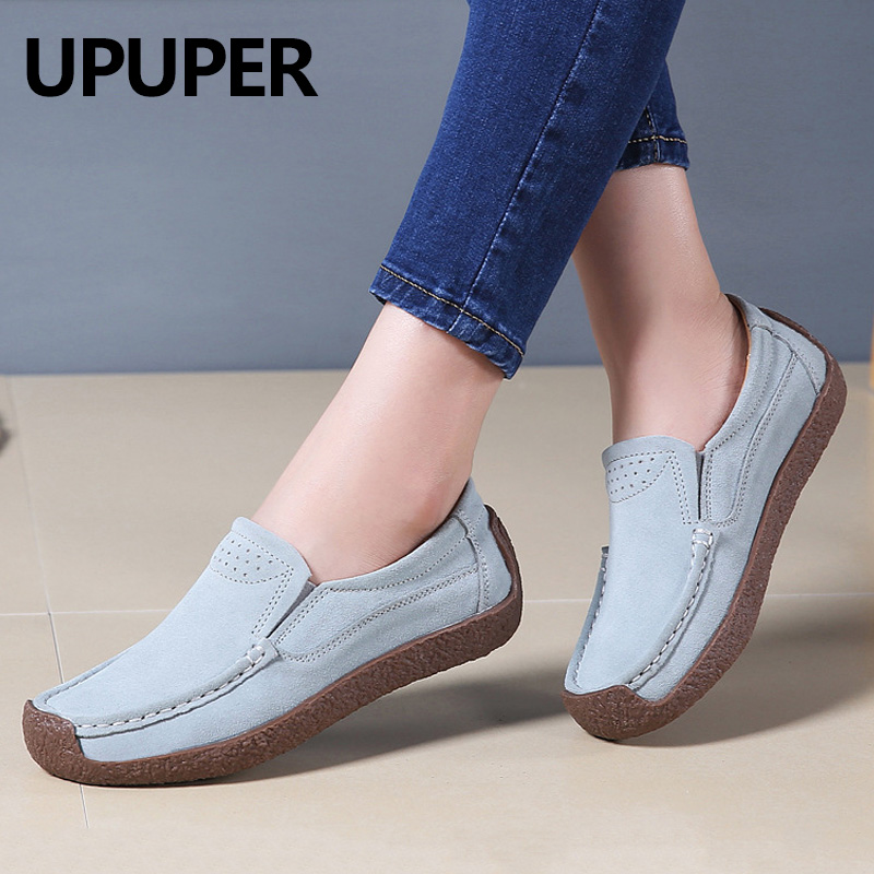 UPUPER Plus Size 35-42 Genuine   Leather   Loafers For Women Spring Women Flats Shoes Woman Cow   Suede   Slip On Ballet Ladies Shoes