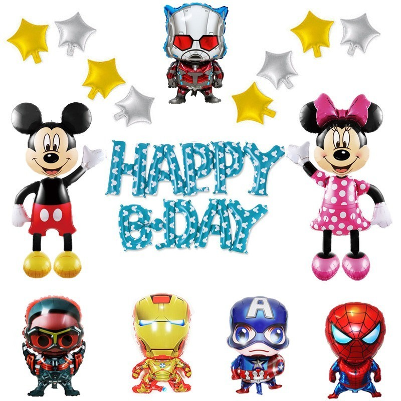 Large Mickey And Winnie Balloons Happy Birthday Party Decorations Kids Adult Super Hero Helium Ballons Baby Shower Boy Balony