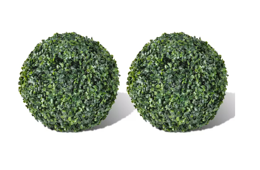 VidaXL 2 Pcs 27 Cm Boxwood Ball Set Artificial Leaf Topiary Ball Home Decoration Outdoor Garden Use Weather-Resistant Plant