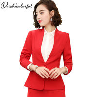 Elegant fashion tops long sleeve V neck red blazer women slim business suit jacket office ladies plus size work wear coat black