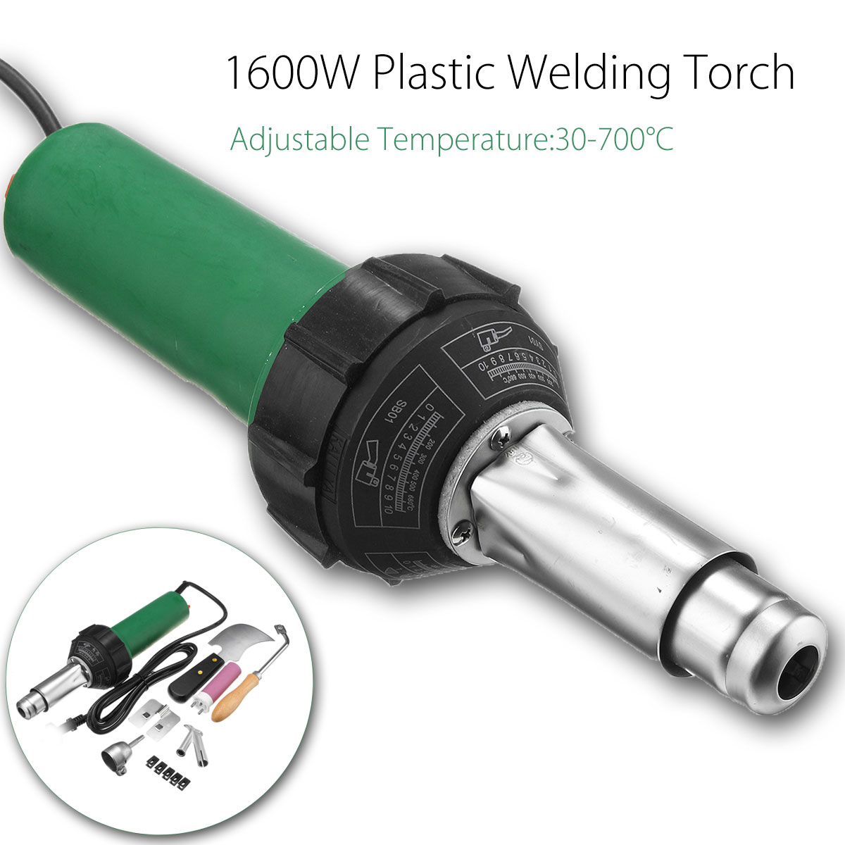цена на 1600W 50/60HZ 220V Hot Air Plastic Welding Torch Gun Heat Gun With Heating Core Nozzles Welding Tools