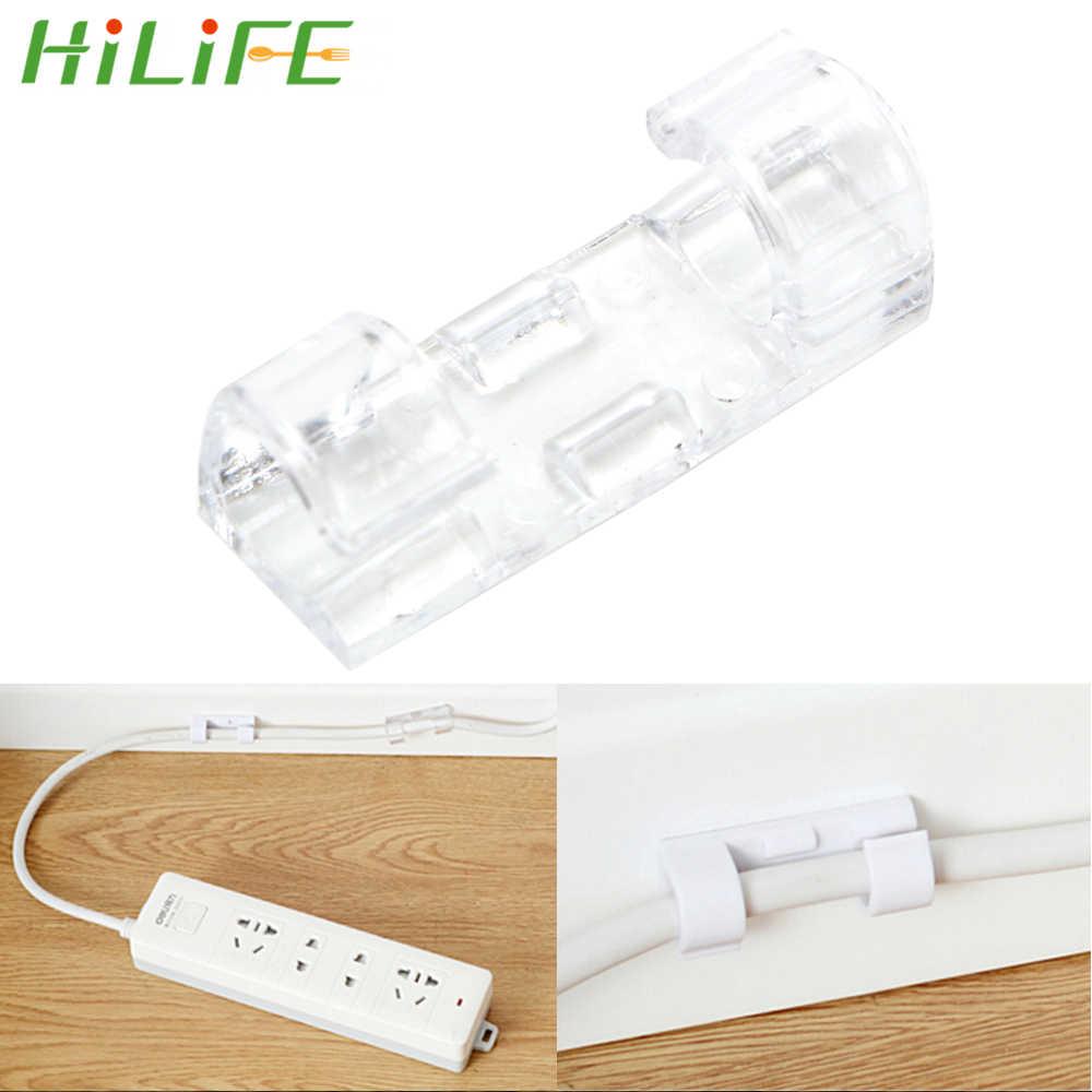 HILIFE 20 pz/lotto Linea Continua Morsetto Cavo USB Pinze Dell'organizzatore Del Supporto Filo di Fissaggio Pinza Clip di Cavo di Filo Fisso Pinze