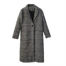 25f7b05c90c FANALA 2019 Woolen Coat Female Winter Women Casual Plaid Long Sleeve Thick  Warm