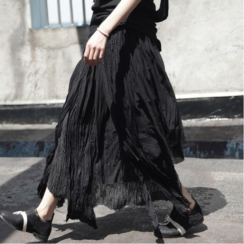Black Asimétrico 2019 Verano Mujeres ewq Vintage Ad57601 Sólido Diseño Falda Ropa Larga Skrit Primavera Suelta Pachwork YZZdEq