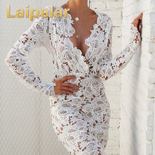 Laipelar women lace dress white sexy ladies hollow out long sleeve V neck elegant above knee dresses vestidos wholesale