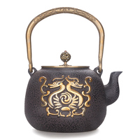 Japanese cast iron kungfu tea pot teapot totem dual copper drawing handmade coated boiled water kettle teaware 1.3L