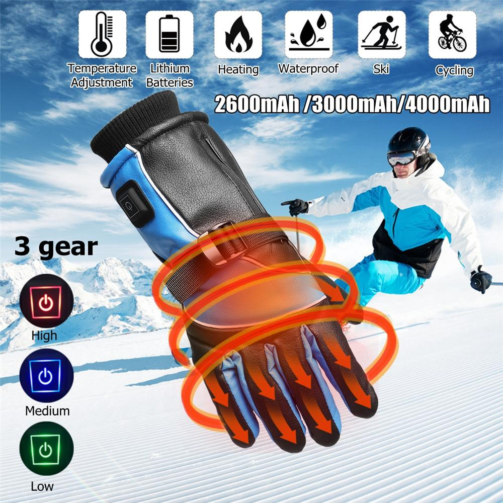 7.4V 4000mAh Battery 3 Gear Temperature control Winter Motorcycle Outdoor Electric Heated Gloves Hands Warmer Waterproof
