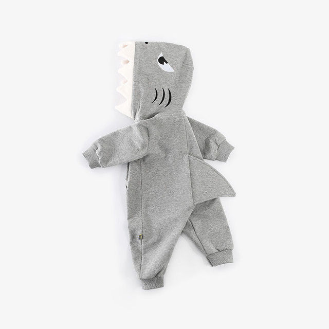 Newborn Infant Baby boy romper Hooded 3D shark dinosaur costume baby Cotton halloween christmas animal jumpsuits one size Kids 1