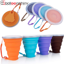 BalleenShiny Silicone 270ML Water Cup with Cover Folding Portable Beverage Organizer Drinkware Travel Sports Climbing Cups