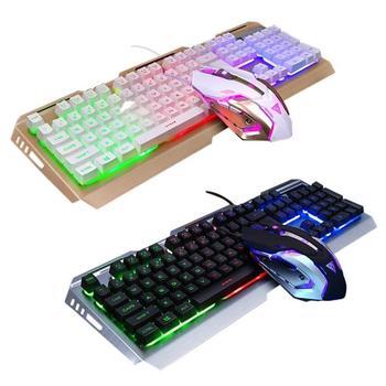Игровой набор Combos USB Проводная эргономичная 7 цветов светодиодный Механическая с подсветкой ощущение игровой клавиатуры с 4000 dpi регулируемо...