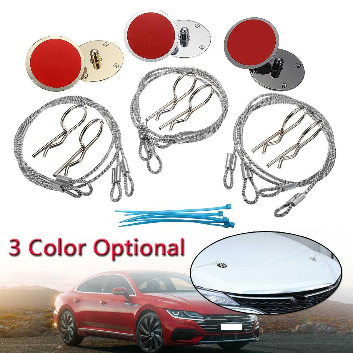 New 2pcs Universal Car Front Racing Bonnet Hood Pin Lock Appearance Kit CNC Billet Aluminum Titanium/Silver/Gold CUP561788