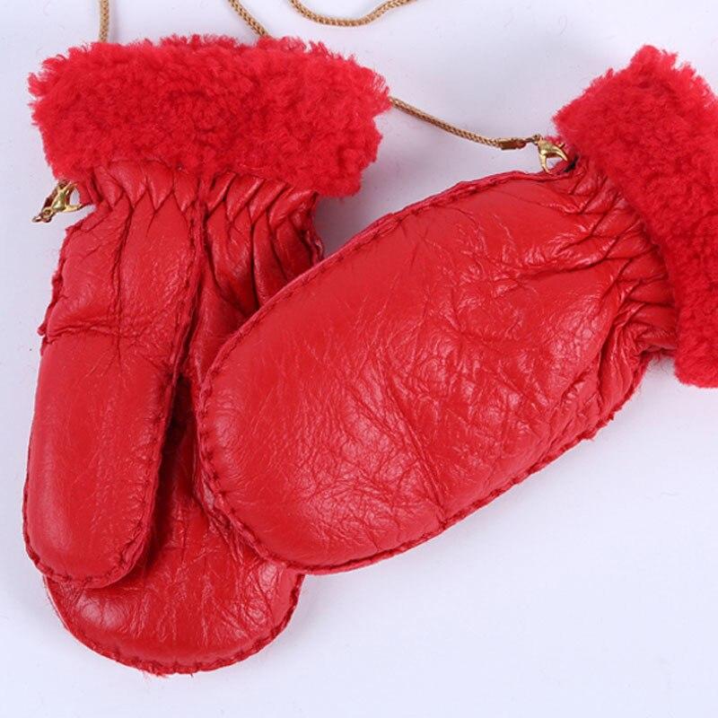 Warm-Gloves Mittens Handmade Outdoor Winter Children's Fur for Boys Girls Thick Lics