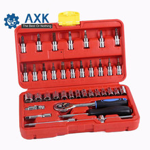 38pcs 1/4-Inch Socket Set Car Repair Tool Ratchet Torque Wrench Combination Bit a set of keys Chrome Vanadium