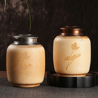 Airtight Bamboo Tea Jars With Copper Lid For Bulk Products Spices Cans Home Storage Bottles Coffee Food Container Decorative