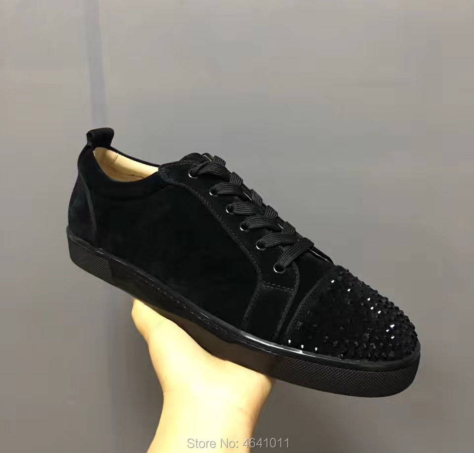 cl andgz Low Cut Leisure Shoes Black Rivet Swarovski Rhinestones Front Red bottoms For Men Sneakers