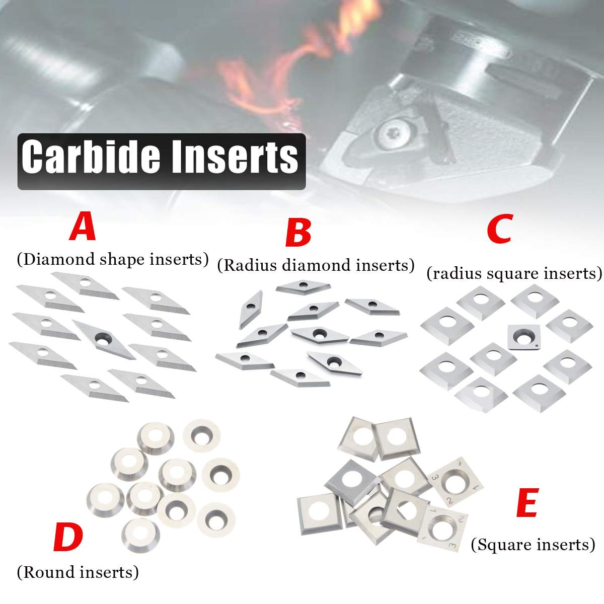 New 10pcs Carbide Inserts For Lathe Turning Tool Diamond Shape/Radius Diamond/Radius Square/Round/Square Inserts