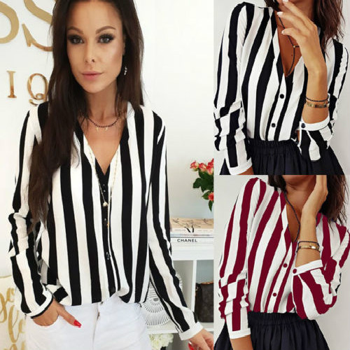 2019 New Hot Fashion Women Ladies Long Sleeve Loose   Blouse   Summer V Neck Casual   Shirt   Tops