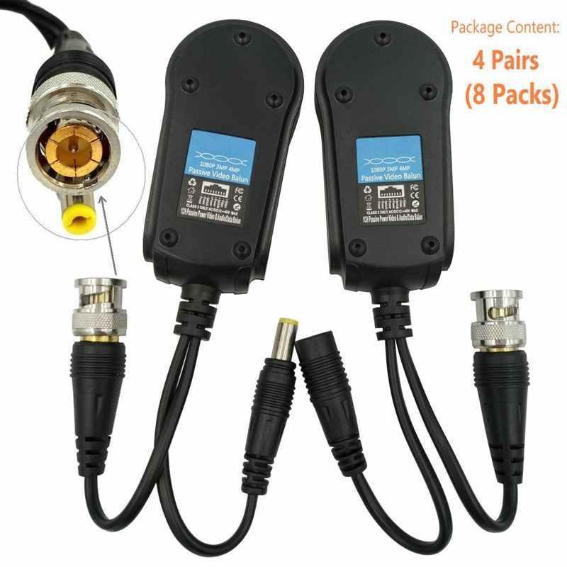 4 زوج السلبي فيديو/الطاقة Balun ترقية 1080P-5Mp Bnc إلى Rj45 لمسافات طويلة شبكة الإرسال والاستقبال Cat5E/Cat6 كابل إلى Bnc الذكور