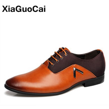 Plus Size Leather Men Dress Shoes Oxfords 2019 Formal Luxury British Business Pointed Toe Wedding Shoes For Male Spring Autumn christia bella men pointed toe genuine leather slip on british formal dress shoes vogue summer slippers oxfords plus size 38 47