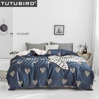 Blue heart shape print bedding set bedclothes boy girl love bed linen soft queen queen king duvet cover home textile