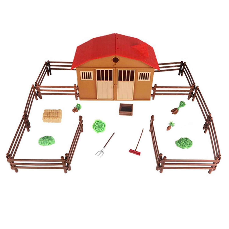 Modelo de escena de mesa de arena simulada de granja Ranch House Toy Set  niños modelo de juguete de